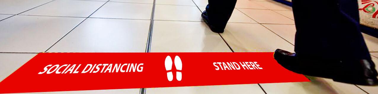 Social Distance Floor Bar - Banner