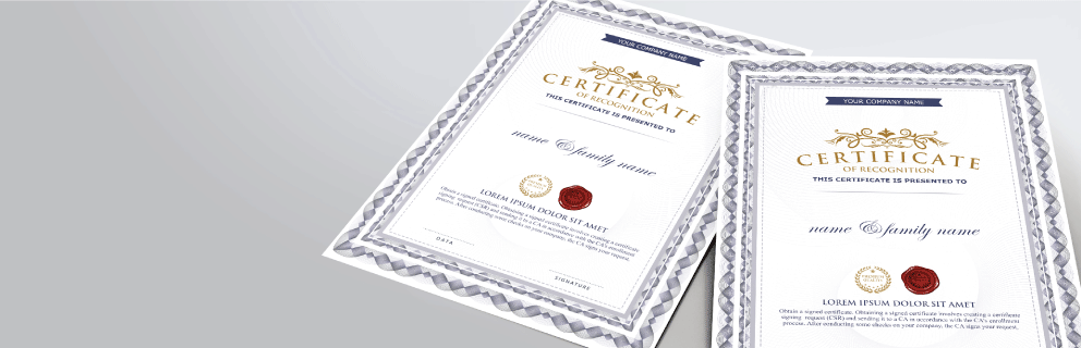 Standard Certificates - Banner