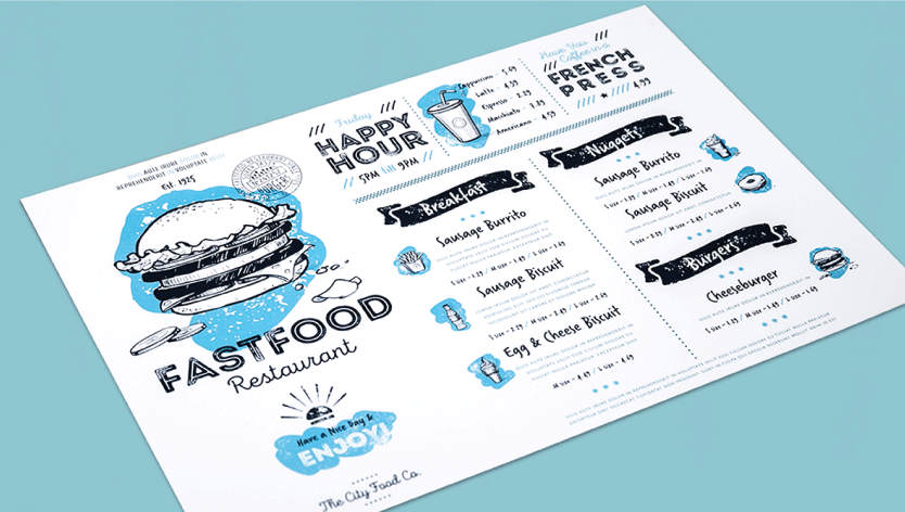 Flat Take-out Menus