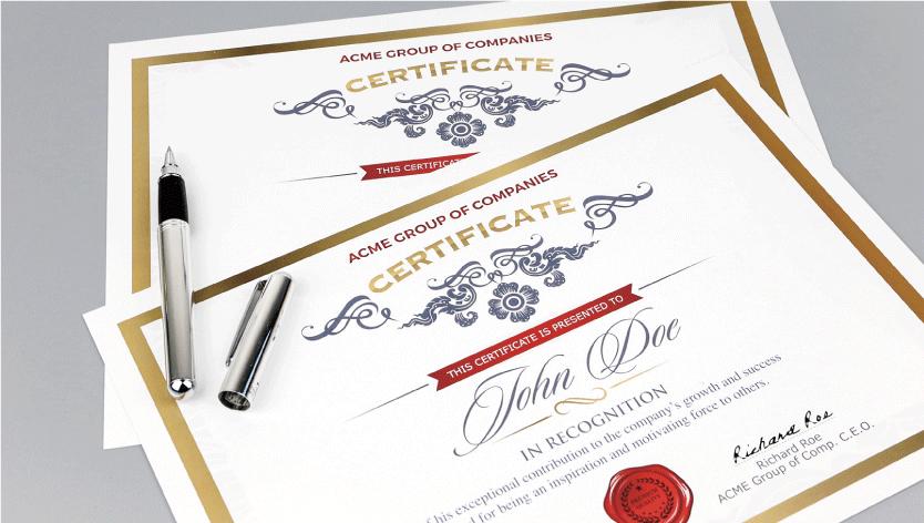 Standard Certificates - Zoom 3 Image
