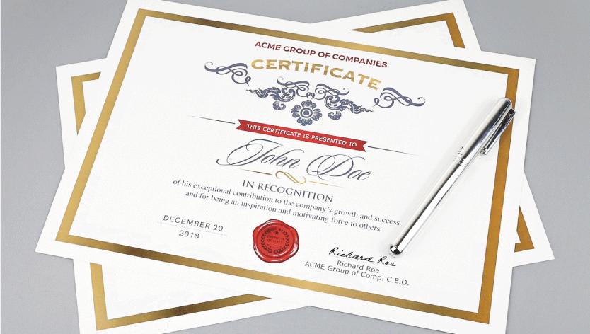 Standard Certificates - Zoom 1 Image